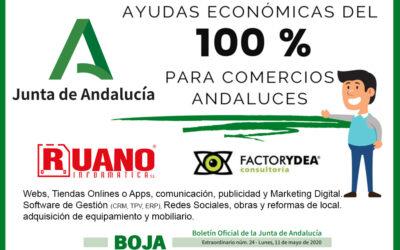SUBVENCIONES del 100% de la inversión para COMERCIOS ANDALUCES